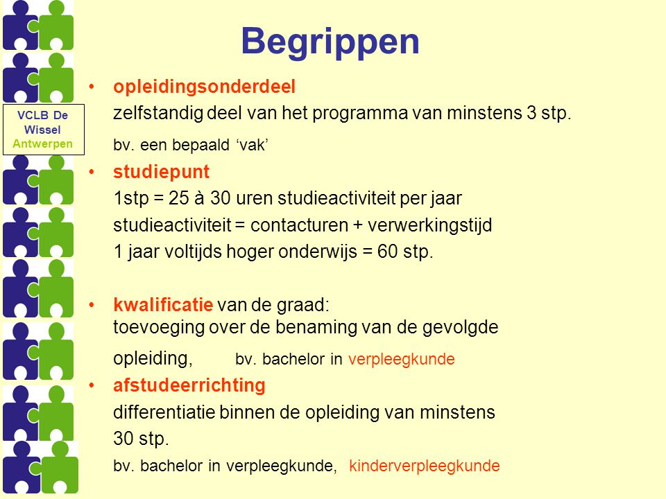 Begrippen opleidingsonderdeel zelfstandig deel van het programma van minstens 3 stp. bv. een bepaald 'vak' studiepunt 1stp = 25 à 30 uren studieactivi