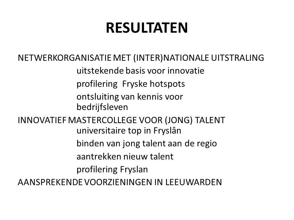RESULTATEN NETWERKORGANISATIE MET (INTER)NATIONALE UITSTRALING uitstekende basis voor innovatie profilering Fryske hotspots ontsluiting van kennis voor bedrijfsleven INNOVATIEF MASTERCOLLEGE VOOR (JONG) TALENT universitaire top in Fryslân binden van jong talent aan de regio aantrekken nieuw talent profilering Fryslan AANSPREKENDE VOORZIENINGEN IN LEEUWARDEN