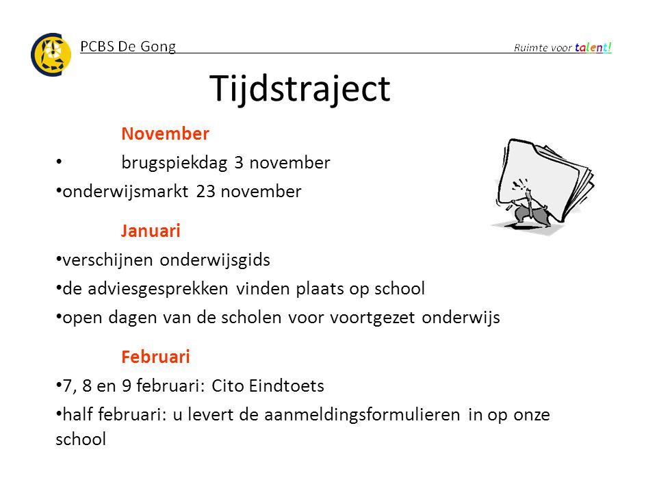 Tijdstraject November brugspiekdag 3 november onderwijsmarkt 23 november Januari verschijnen onderwijsgids de adviesgesprekken vinden plaats op school