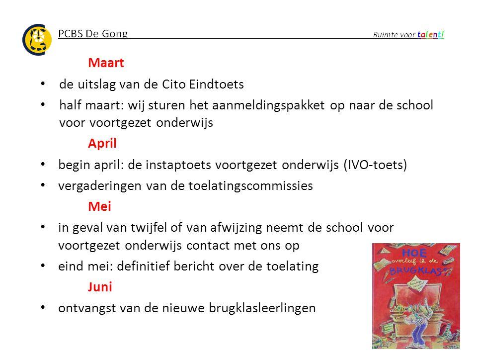 Maart de uitslag van de Cito Eindtoets half maart: wij sturen het aanmeldingspakket op naar de school voor voortgezet onderwijs April begin april: de
