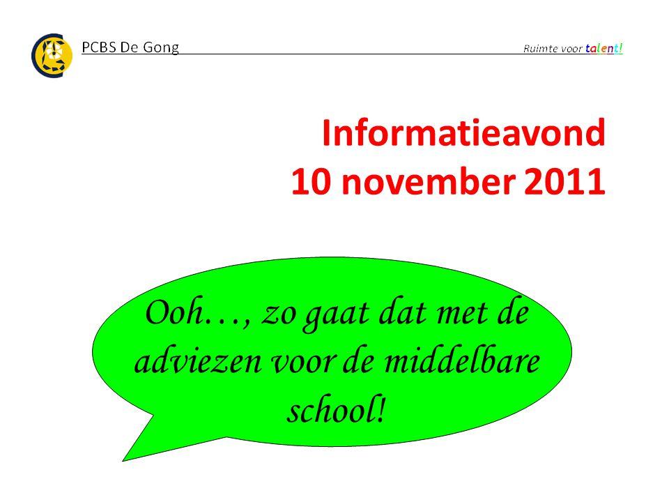 Informatieavond 10 november 2011 Ooh…, zo gaat dat met de adviezen voor de middelbare school!