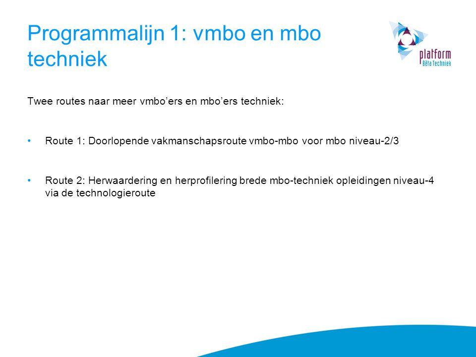 Programmalijn 1: vmbo en mbo techniek Twee routes naar meer vmbo'ers en mbo'ers techniek: Route 1: Doorlopende vakmanschapsroute vmbo-mbo voor mbo niv