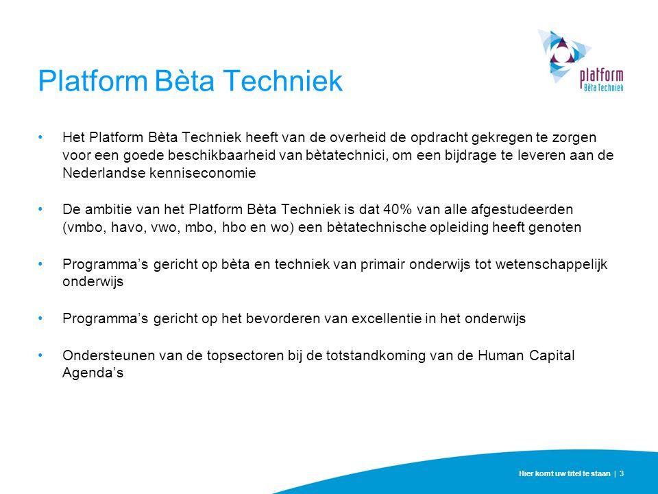 Platform Bèta Techniek Het Platform Bèta Techniek heeft van de overheid de opdracht gekregen te zorgen voor een goede beschikbaarheid van bètatechnici
