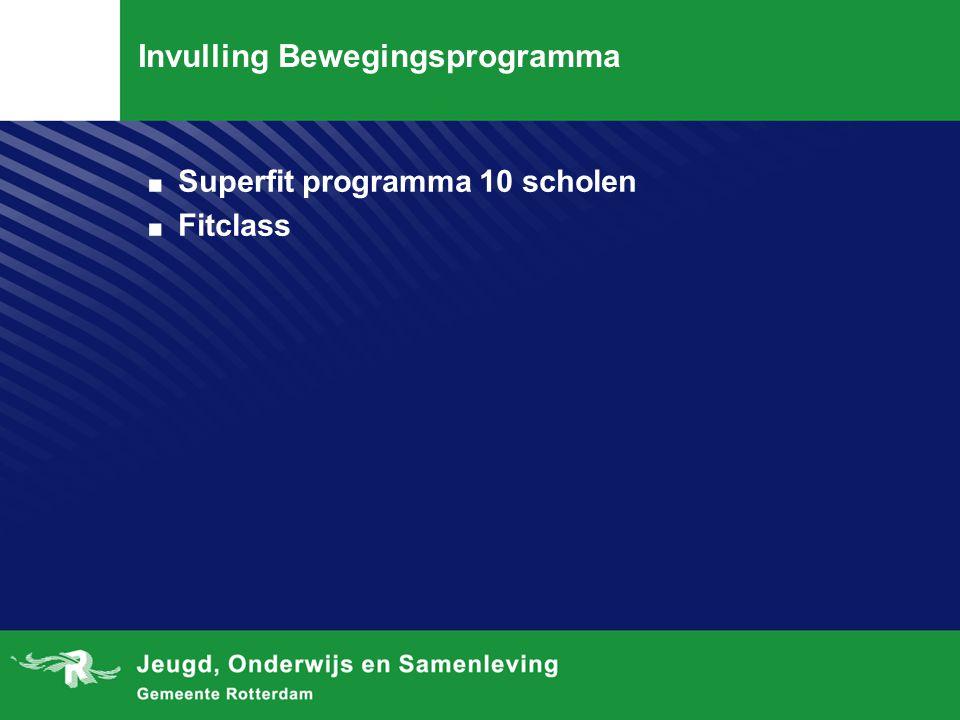 Invulling Bewegingsprogramma. Superfit programma 10 scholen. Fitclass