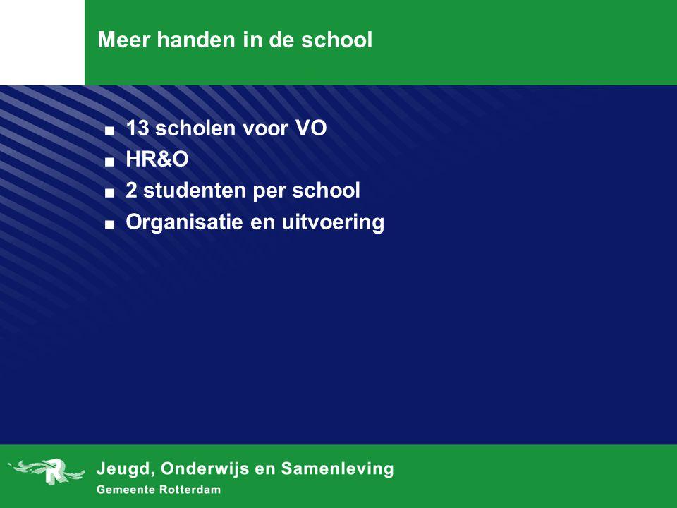 Meer handen in de school. 13 scholen voor VO. HR&O. 2 studenten per school. Organisatie en uitvoering