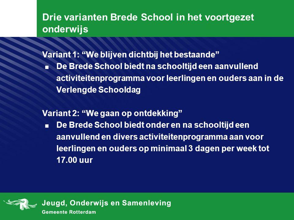"""Drie varianten Brede School in het voortgezet onderwijs Variant 1: """"We blijven dichtbij het bestaande"""". De Brede School biedt na schooltijd een aanvul"""