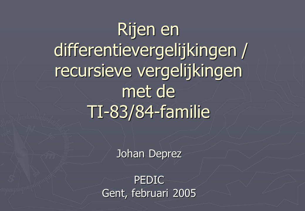 Rijen en differentievergelijkingen / recursieve vergelijkingen met de TI-83/84-familie Johan Deprez PEDIC Gent, februari 2005