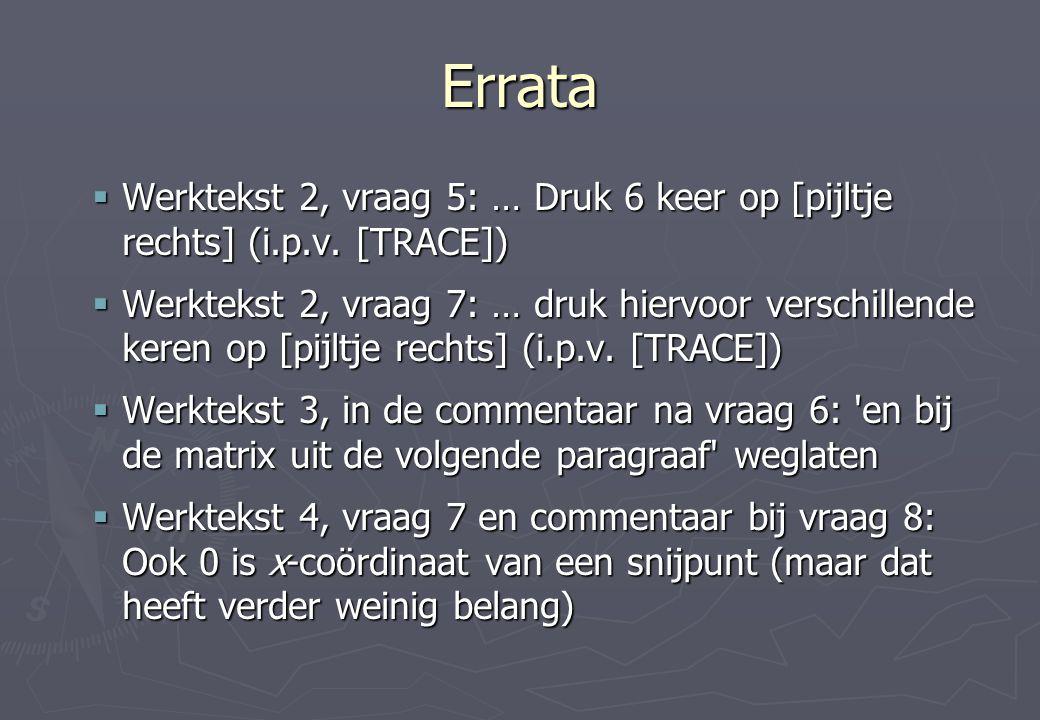 Errata  Werktekst 2, vraag 5: … Druk 6 keer op [pijltje rechts] (i.p.v. [TRACE])  Werktekst 2, vraag 7: … druk hiervoor verschillende keren op [pijl
