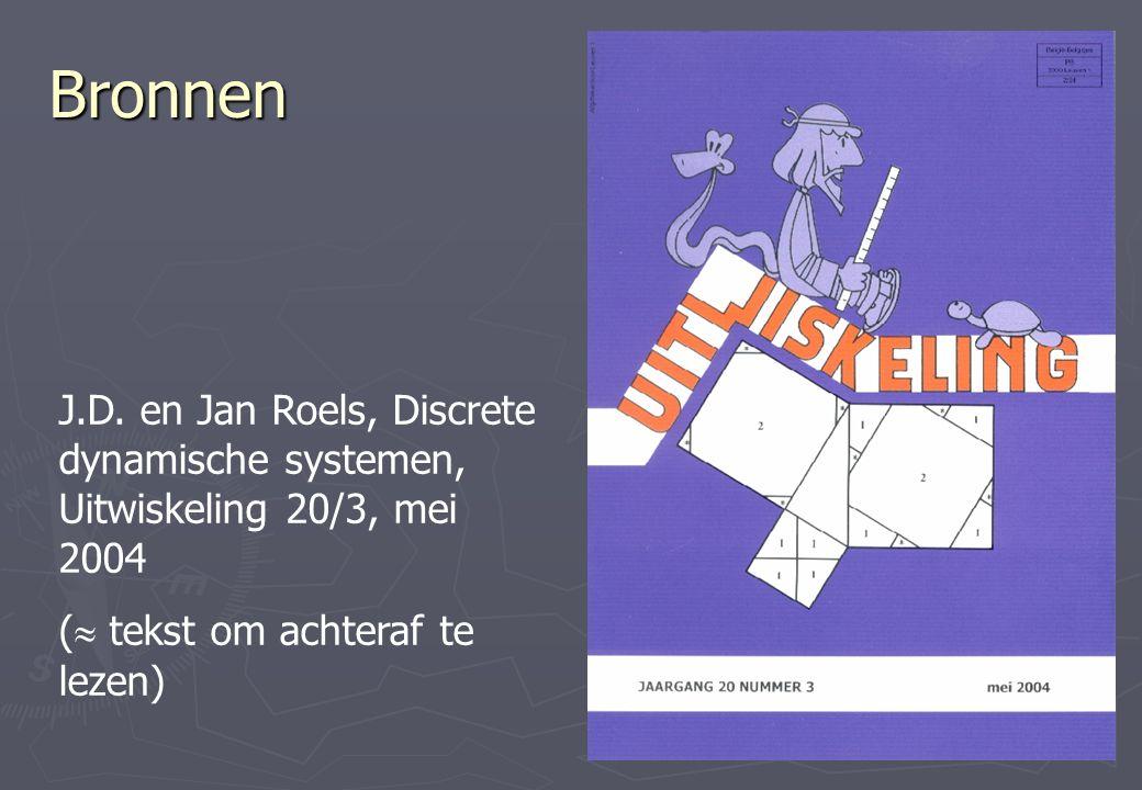 Bronnen J.D. en Jan Roels, Discrete dynamische systemen, Uitwiskeling 20/3, mei 2004 (  tekst om achteraf te lezen)
