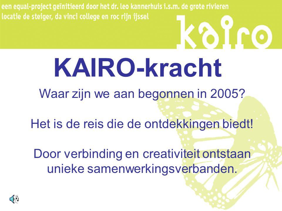 KAIRO-kracht Waar zijn we aan begonnen in 2005.Het is de reis die de ontdekkingen biedt.