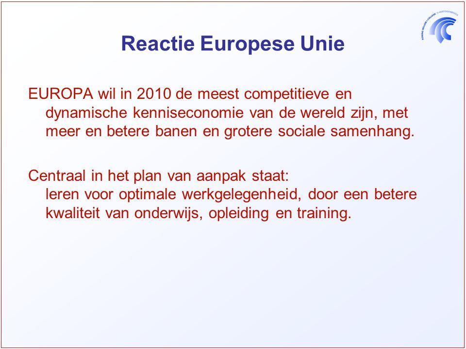 Reactie Europese Unie EUROPA wil in 2010 de meest competitieve en dynamische kenniseconomie van de wereld zijn, met meer en betere banen en grotere sociale samenhang.
