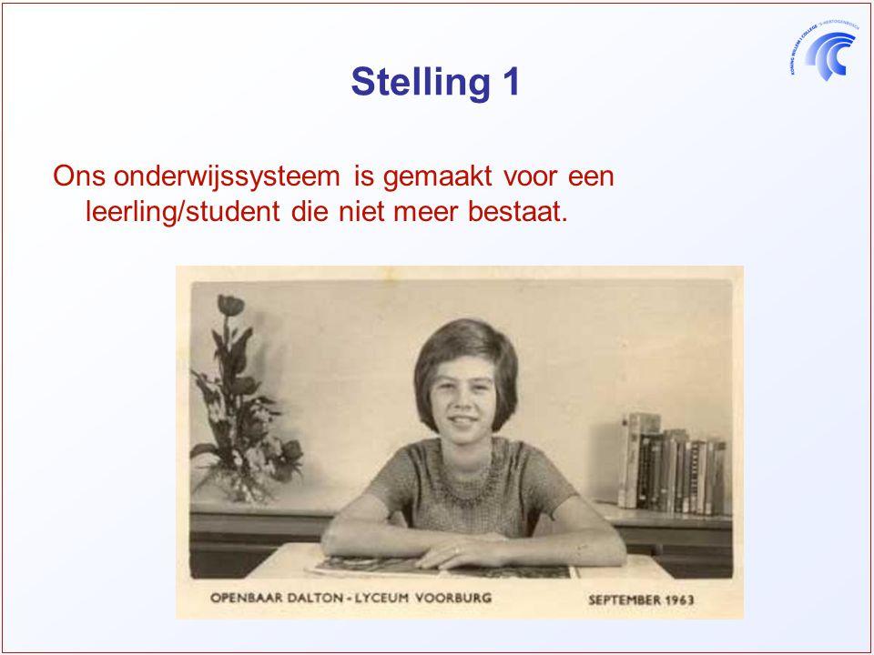 Stelling 1 Ons onderwijssysteem is gemaakt voor een leerling/student die niet meer bestaat.