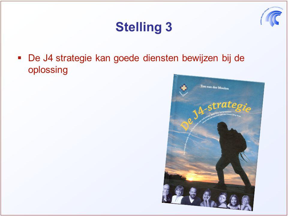 Stelling 3  De J4 strategie kan goede diensten bewijzen bij de oplossing