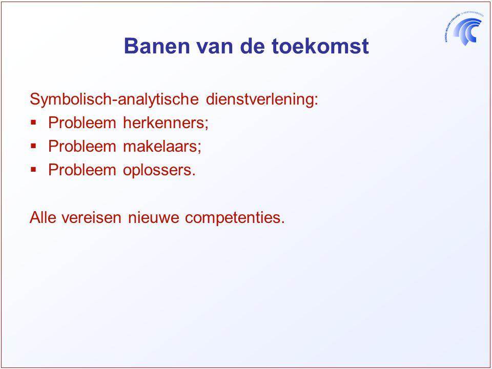 Banen van de toekomst Symbolisch-analytische dienstverlening:  Probleem herkenners;  Probleem makelaars;  Probleem oplossers.