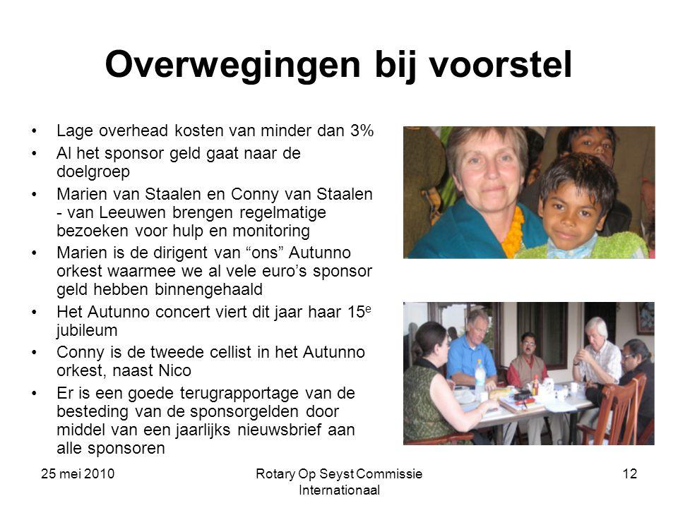 25 mei 2010Rotary Op Seyst Commissie Internationaal 12 Overwegingen bij voorstel Lage overhead kosten van minder dan 3% Al het sponsor geld gaat naar