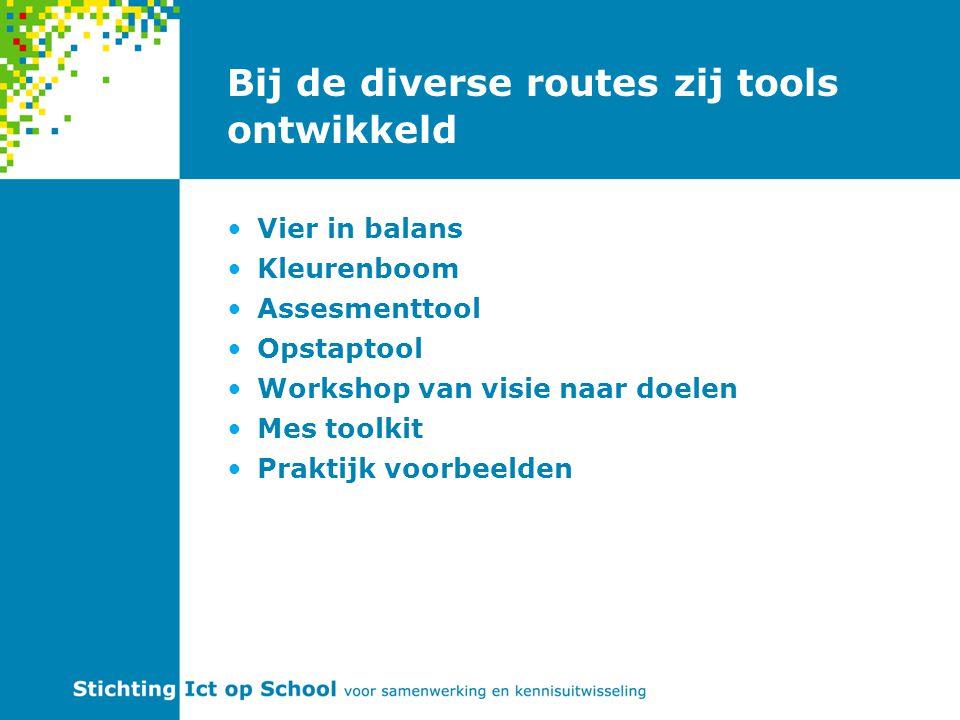 Bij de diverse routes zij tools ontwikkeld Vier in balans Kleurenboom Assesmenttool Opstaptool Workshop van visie naar doelen Mes toolkit Praktijk voorbeelden