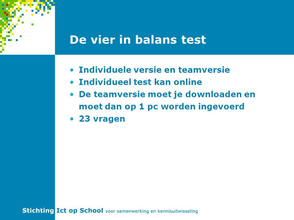 De vier in balans test Individuele versie en teamversie Individueel test kan online De teamversie moet je downloaden en moet dan op 1 pc worden ingevo