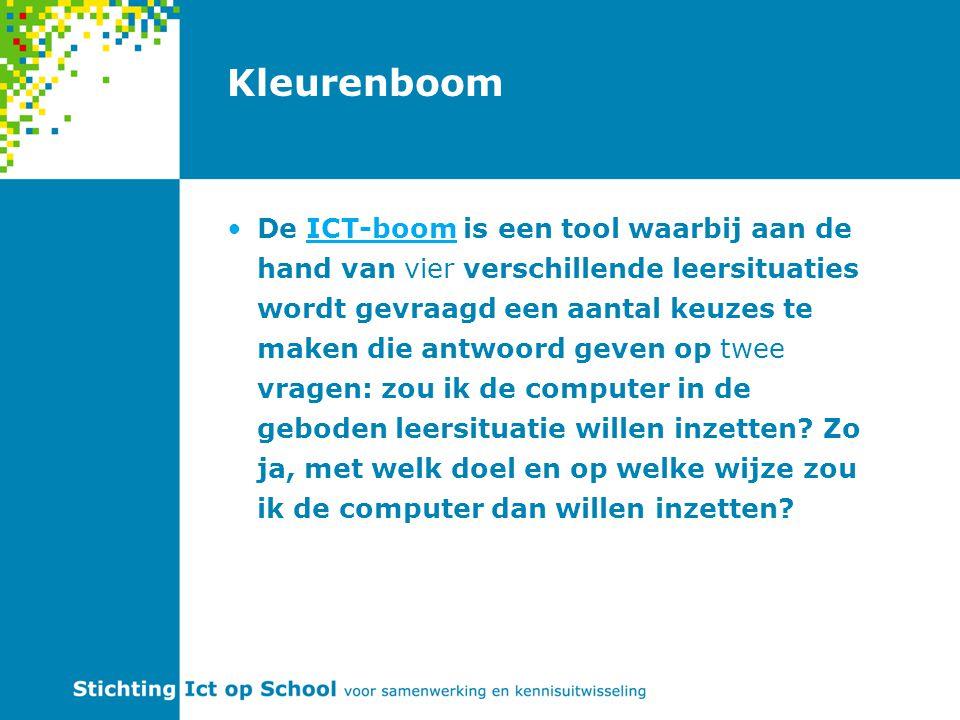 Kleurenboom De ICT-boom is een tool waarbij aan de hand van vier verschillende leersituaties wordt gevraagd een aantal keuzes te maken die antwoord geven op twee vragen: zou ik de computer in de geboden leersituatie willen inzetten.