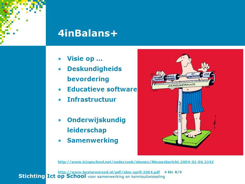 4inBalans+ Visie op … Deskundigheids bevordering Educatieve software Infrastructuur Onderwijskundig leiderschap Samenwerking http://www.ictopschool.net/onderzoek/nieuws/Nieuwsbericht.2004-02-06.3342 http://www.besturenraad.nl/pdf/sbm-april-2004.pdfhttp://www.besturenraad.nl/pdf/sbm-april-2004.pdf  blz 8/9