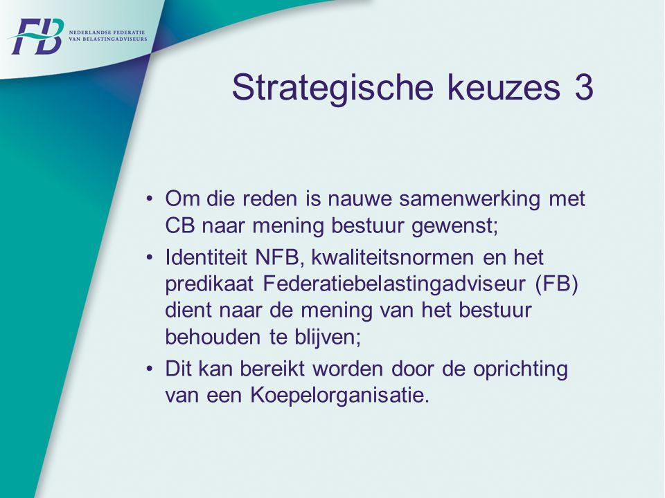 Strategische keuzes 3 Om die reden is nauwe samenwerking met CB naar mening bestuur gewenst; Identiteit NFB, kwaliteitsnormen en het predikaat Federat