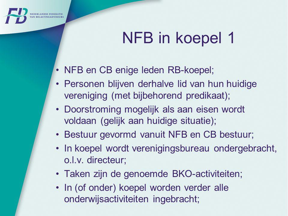 NFB in koepel 1 NFB en CB enige leden RB-koepel; Personen blijven derhalve lid van hun huidige vereniging (met bijbehorend predikaat); Doorstroming mo