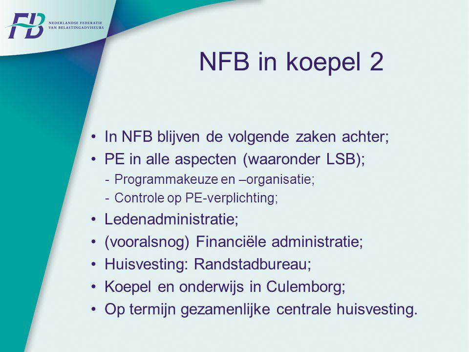 NFB in koepel 2 In NFB blijven de volgende zaken achter; PE in alle aspecten (waaronder LSB);  Programmakeuze en –organisatie;  Controle op PE-verpl