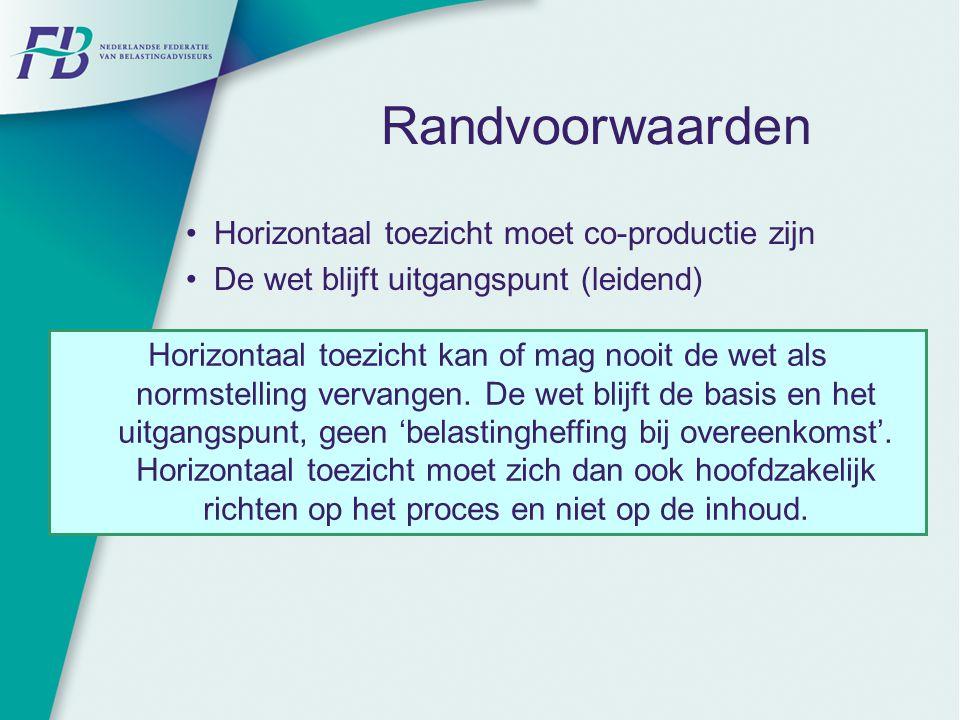 Randvoorwaarden Horizontaal toezicht moet co-productie zijn De wet blijft uitgangspunt (leidend) Horizontaal toezicht kan of mag nooit de wet als norm