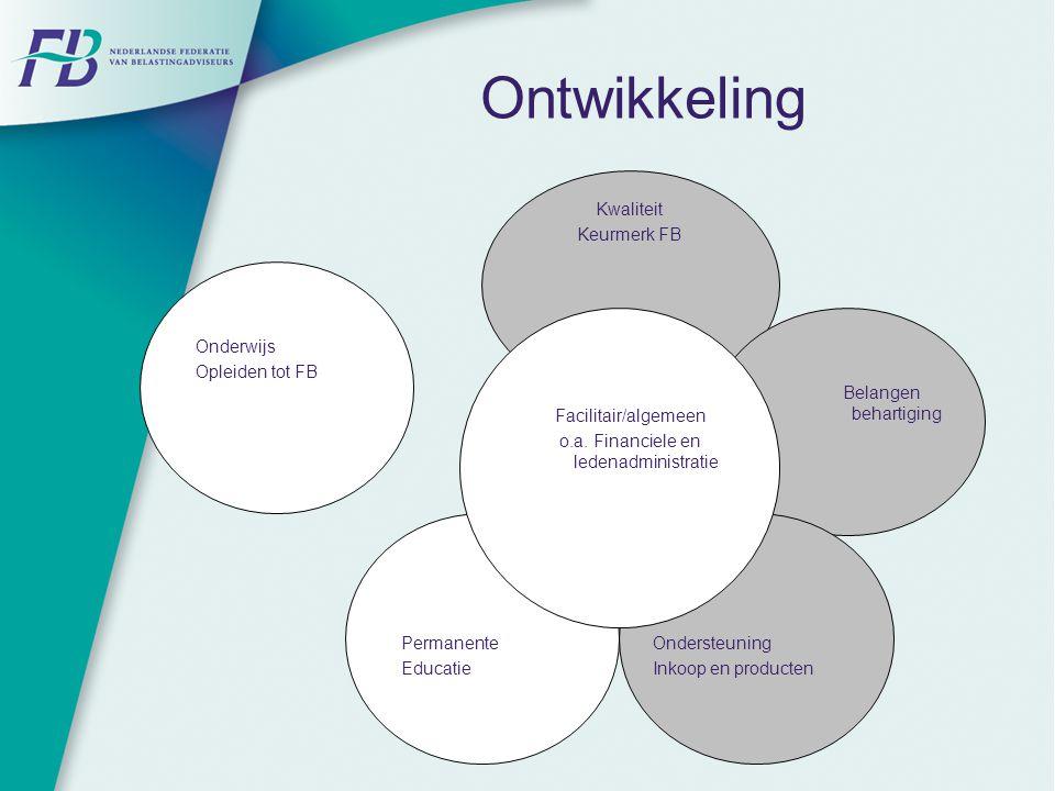 Ontwikkeling Facilitair/algemeen o.a. Financiele en ledenadministratie Onderwijs Opleiden tot FB Permanente Educatie Kwaliteit Keurmerk FB Belangen be