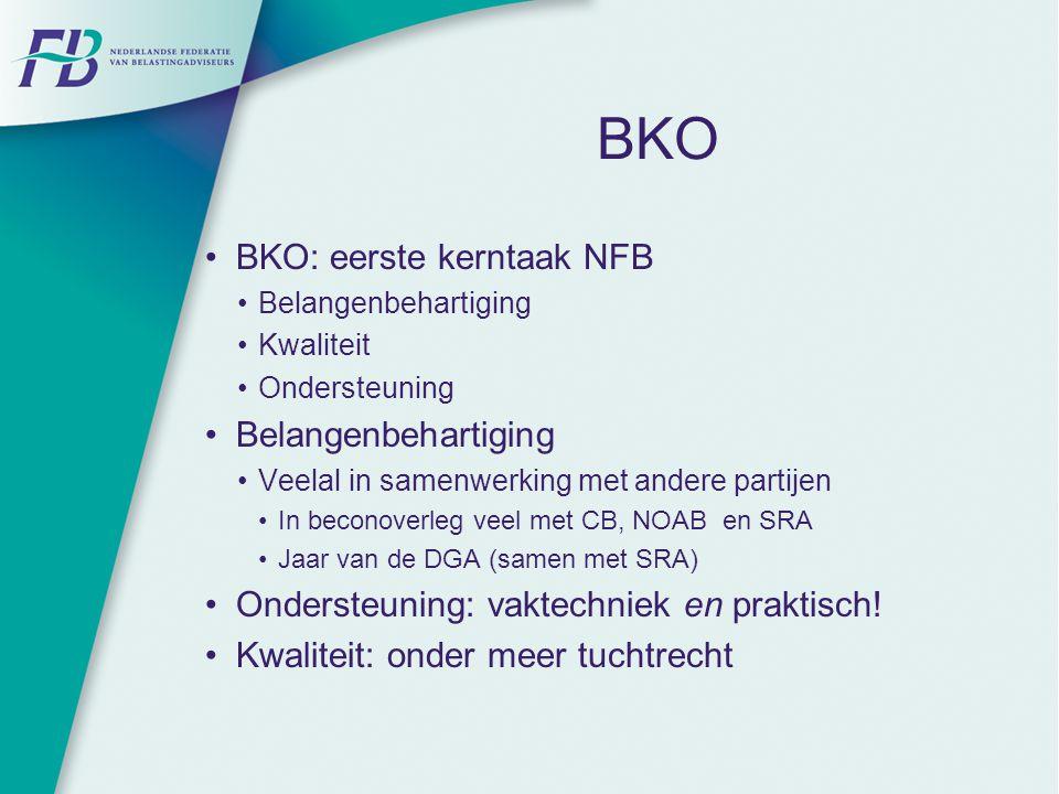 BKO BKO: eerste kerntaak NFB Belangenbehartiging Kwaliteit Ondersteuning Belangenbehartiging Veelal in samenwerking met andere partijen In beconoverle