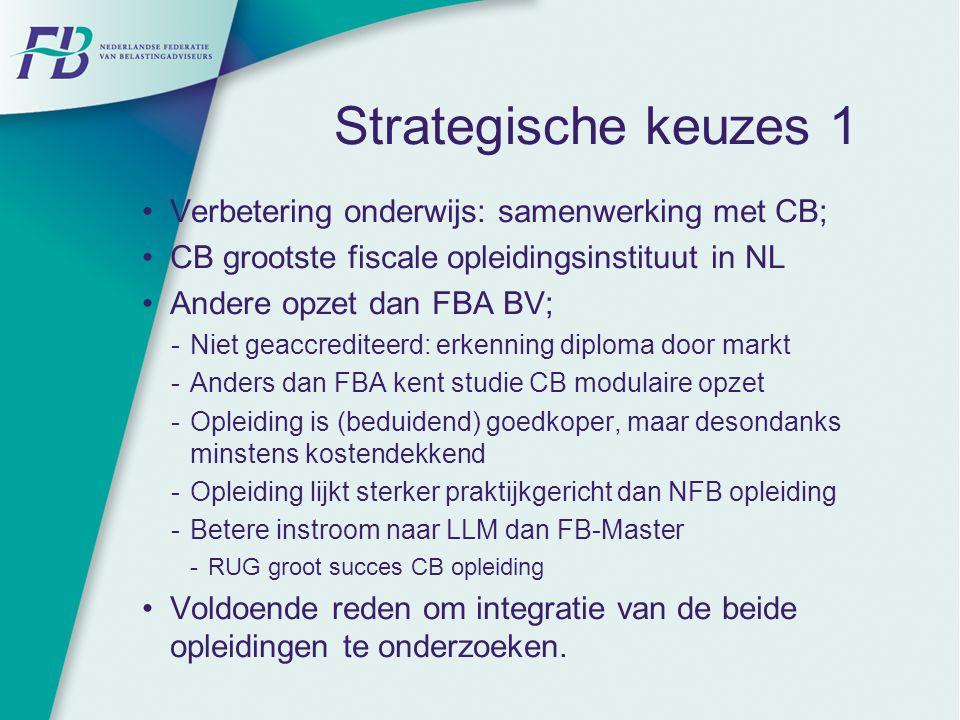 Strategische keuzes 1 Verbetering onderwijs: samenwerking met CB; CB grootste fiscale opleidingsinstituut in NL Andere opzet dan FBA BV;  Niet geaccr