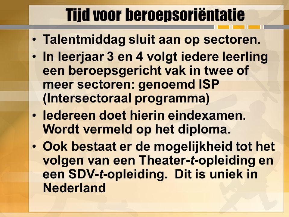 Talentmiddag sluit aan op sectoren. In leerjaar 3 en 4 volgt iedere leerling een beroepsgericht vak in twee of meer sectoren: genoemd ISP (Intersector