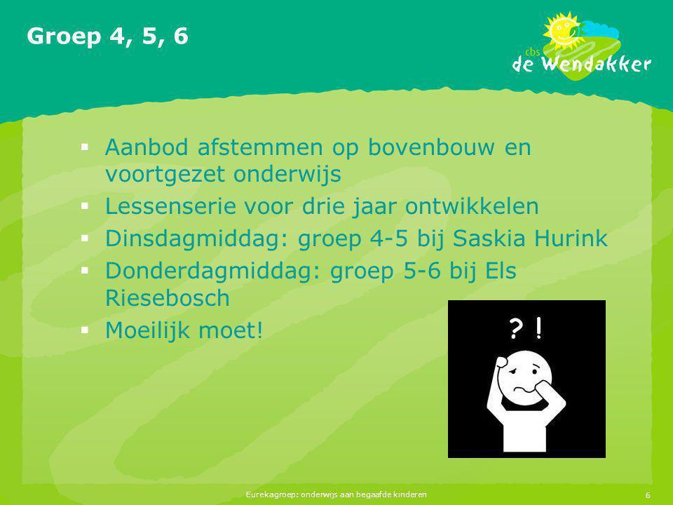 Eurekagroep: onderwijs aan begaafde kinderen6 Groep 4, 5, 6  Aanbod afstemmen op bovenbouw en voortgezet onderwijs  Lessenserie voor drie jaar ontwi
