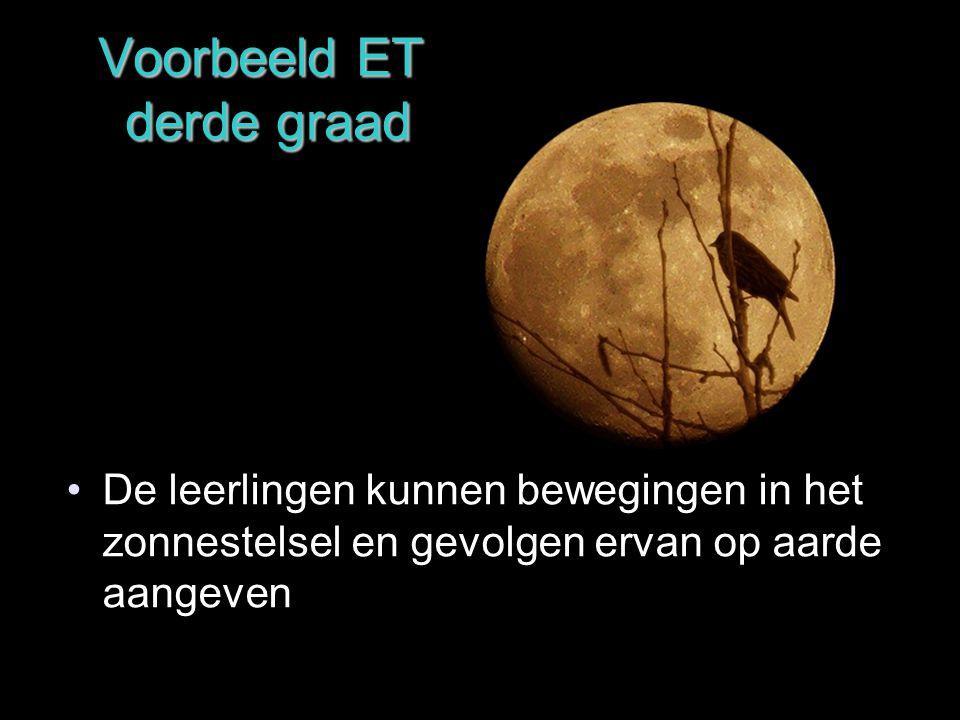 Voorbeeld ET derde graad De leerlingen kunnen bewegingen in het zonnestelsel en gevolgen ervan op aarde aangeven