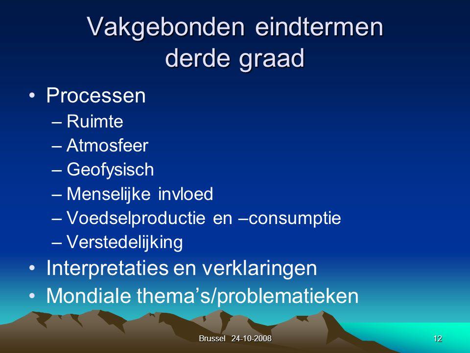 Brussel 24-10-200812 Vakgebonden eindtermen derde graad Processen –Ruimte –Atmosfeer –Geofysisch –Menselijke invloed –Voedselproductie en –consumptie