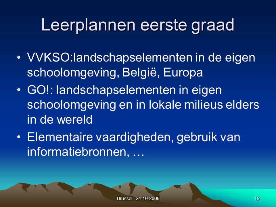 Brussel 24-10-200819 Leerplannen eerste graad VVKSO:landschapselementen in de eigen schoolomgeving, België, Europa GO!: landschapselementen in eigen s