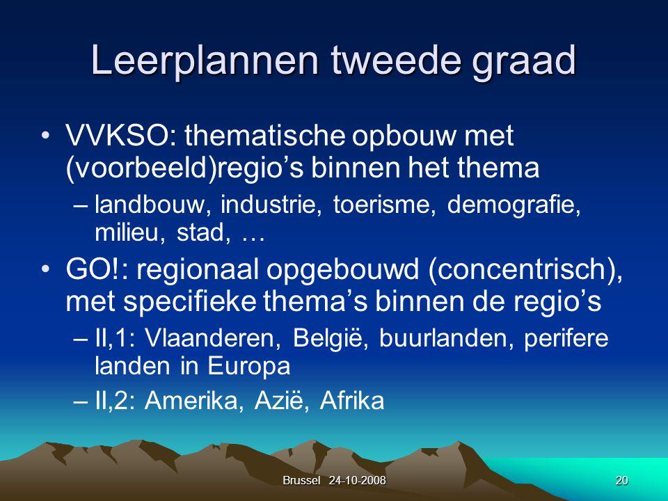 Brussel 24-10-200820 Leerplannen tweede graad VVKSO: thematische opbouw met (voorbeeld)regio's binnen het thema –landbouw, industrie, toerisme, demogr