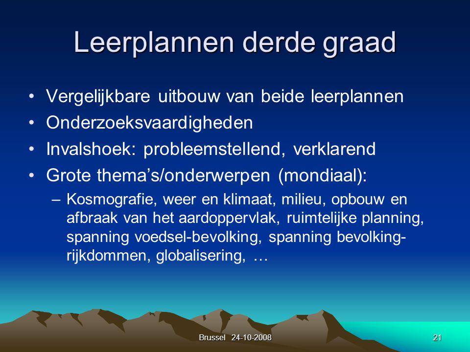 Brussel 24-10-200821 Leerplannen derde graad Vergelijkbare uitbouw van beide leerplannen Onderzoeksvaardigheden Invalshoek: probleemstellend, verklare