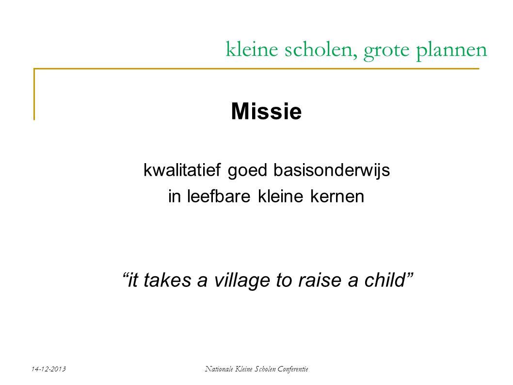 "14-12-2013Nationale Kleine Scholen Conferentie kleine scholen, grote plannen Missie kwalitatief goed basisonderwijs in leefbare kleine kernen ""it take"