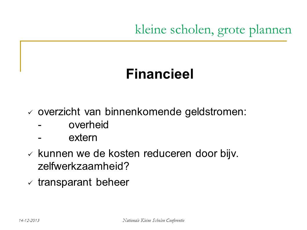 14-12-2013Nationale Kleine Scholen Conferentie kleine scholen, grote plannen Financieel overzicht van binnenkomende geldstromen: - overheid -extern kunnen we de kosten reduceren door bijv.