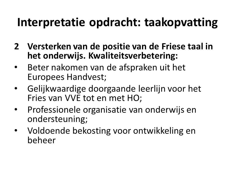Interpretatie opdracht: taakopvatting 2Versterken van de positie van de Friese taal in het onderwijs. Kwaliteitsverbetering: Beter nakomen van de afsp