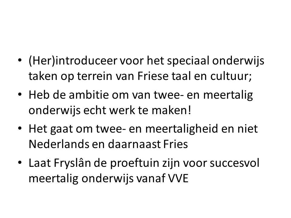 (Her)introduceer voor het speciaal onderwijs taken op terrein van Friese taal en cultuur; Heb de ambitie om van twee- en meertalig onderwijs echt werk