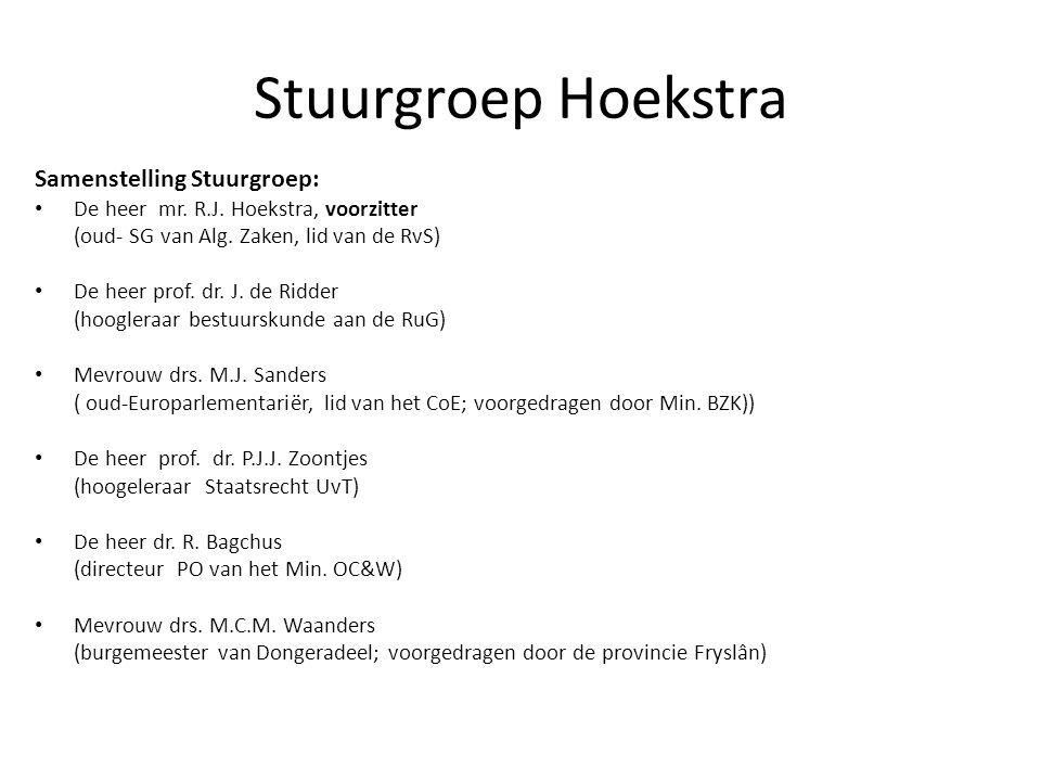 Stuurgroep Hoekstra Samenstelling Stuurgroep: De heer mr. R.J. Hoekstra, voorzitter (oud- SG van Alg. Zaken, lid van de RvS) De heer prof. dr. J. de R