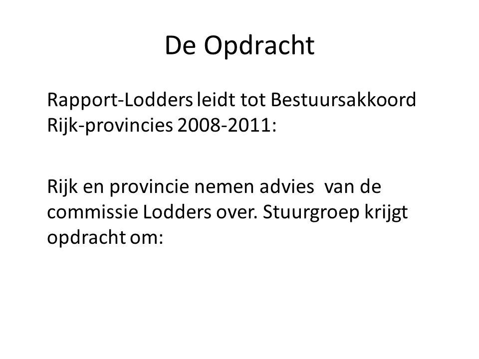 De Opdracht Rapport-Lodders leidt tot Bestuursakkoord Rijk-provincies 2008-2011: Rijk en provincie nemen advies van de commissie Lodders over. Stuurgr