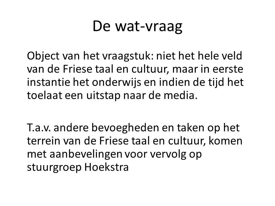 De wat-vraag Object van het vraagstuk: niet het hele veld van de Friese taal en cultuur, maar in eerste instantie het onderwijs en indien de tijd het