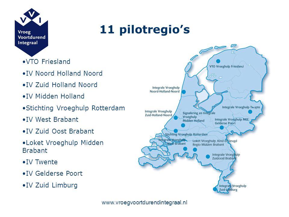 www.vroegvoortdurendintegraal.nl 11 pilotregio's VTO Friesland IV Noord Holland Noord IV Zuid Holland Noord IV Midden Holland Stichting Vroeghulp Rott