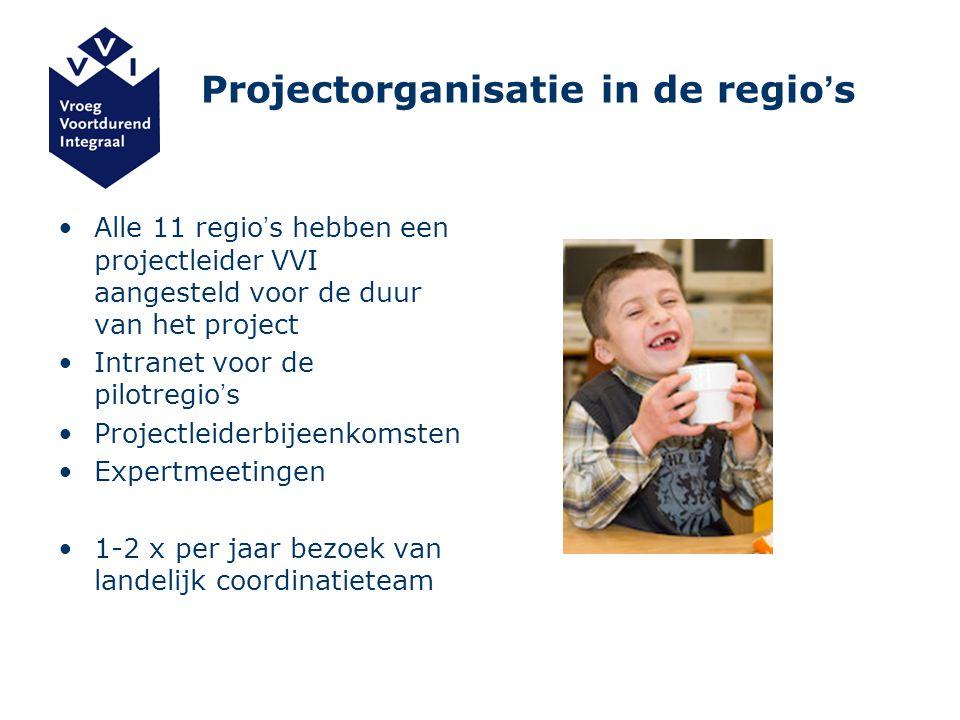 Projectorganisatie in de regio ' s Alle 11 regio ' s hebben een projectleider VVI aangesteld voor de duur van het project Intranet voor de pilotregio