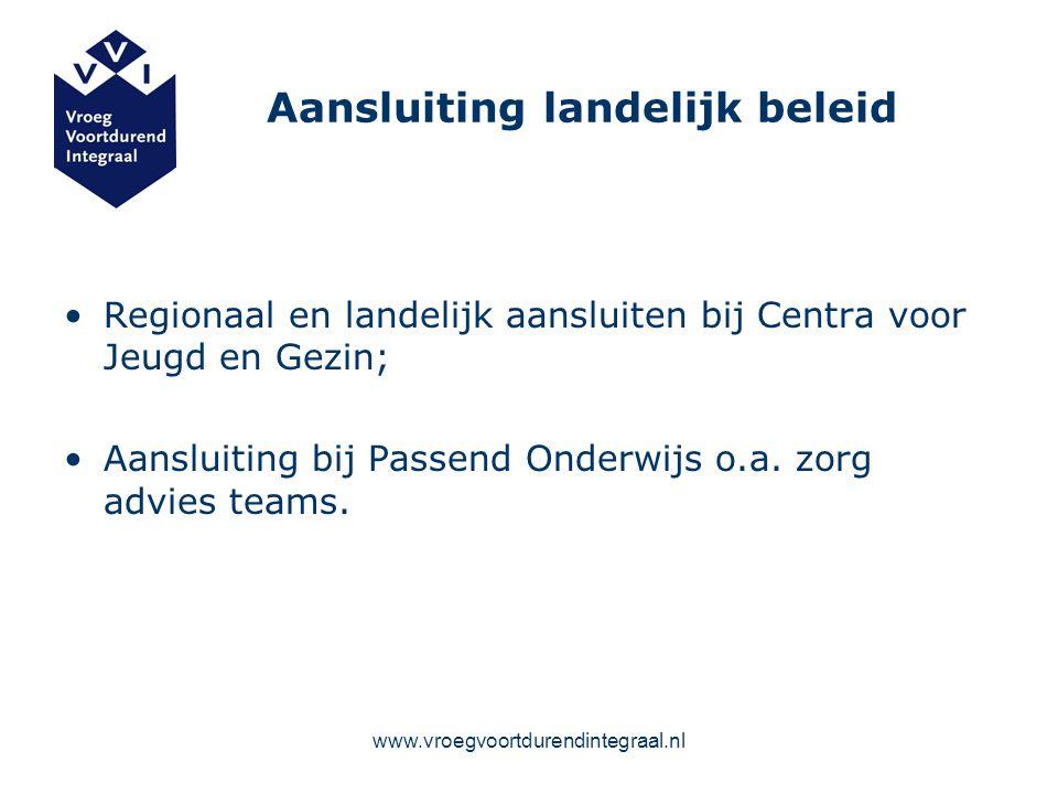 www.vroegvoortdurendintegraal.nl Aansluiting landelijk beleid Regionaal en landelijk aansluiten bij Centra voor Jeugd en Gezin; Aansluiting bij Passen