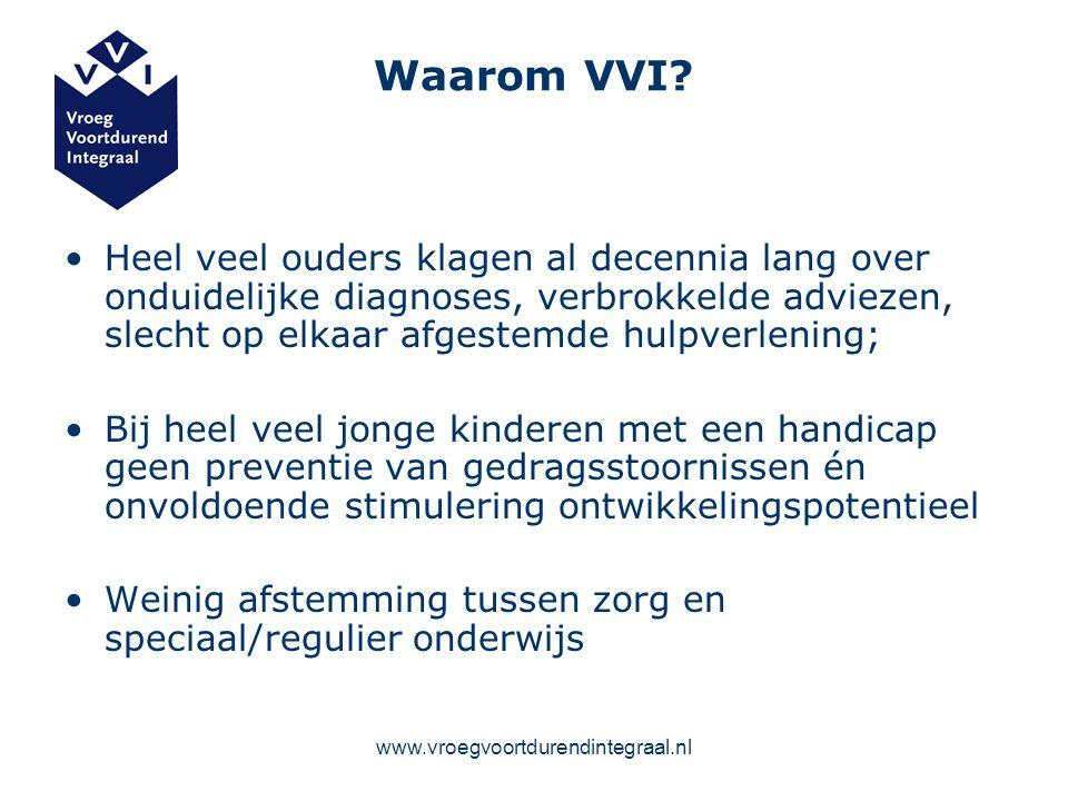 www.vroegvoortdurendintegraal.nl Waarom VVI? Heel veel ouders klagen al decennia lang over onduidelijke diagnoses, verbrokkelde adviezen, slecht op el