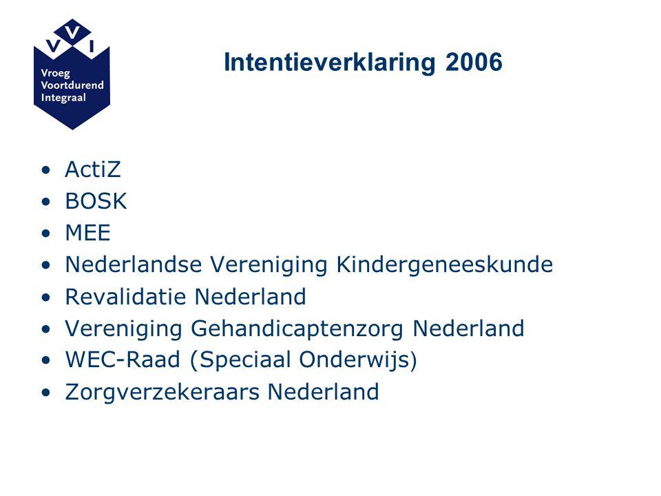 Intentieverklaring 2006 ActiZ BOSK MEE Nederlandse Vereniging Kindergeneeskunde Revalidatie Nederland Vereniging Gehandicaptenzorg Nederland WEC-Raad