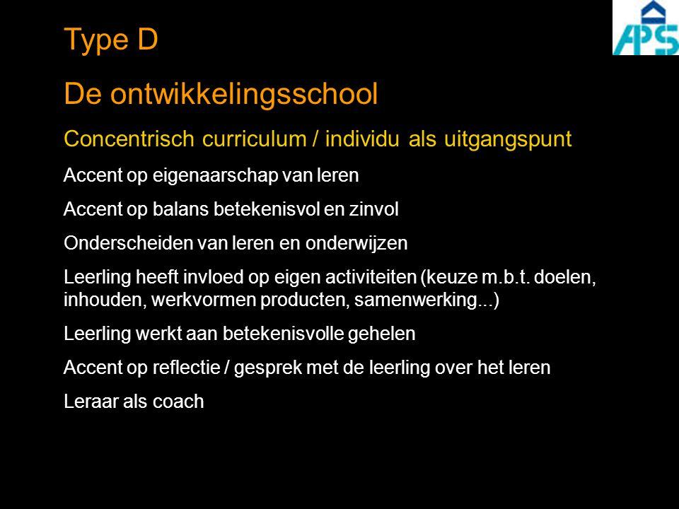 Type D De ontwikkelingsschool Concentrisch curriculum / individu als uitgangspunt Accent op eigenaarschap van leren Accent op balans betekenisvol en z